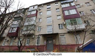 façade bâtiment, five-storey, soviétique