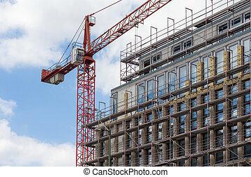 façade bâtiment, grue, échafaudage