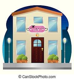 façade bâtiment, hôtel, néon, étiquette