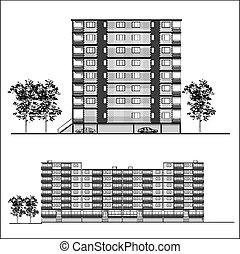 façade, bâtiment, -, habitation