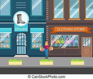 façade, bâtiment, illustration, vue, rue, paysage, magasin, habillement, chaussures, ville, vecteur, urbain