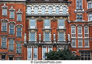 façade bâtiment, londres, historique