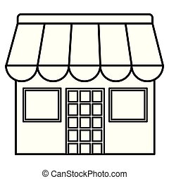 façade bâtiment, magasin, icône