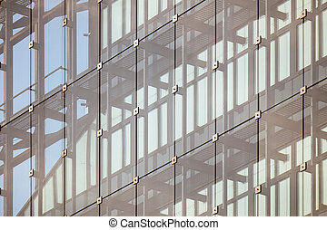 façade bâtiment, moderne, bureau