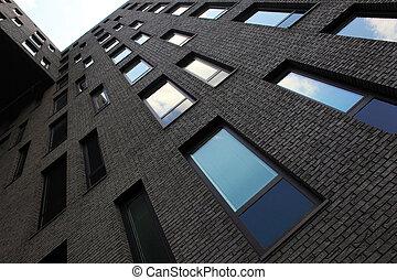 façade, bâtiment, sinistre, bureau