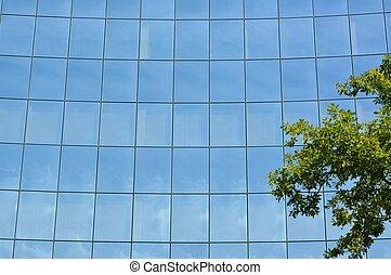 façade, bâtiment verre, bureau