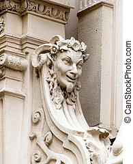 façade bâtiment, vieux, sculptures, vienne
