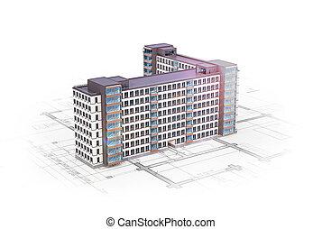 façade, bâtiments, haut-ascension, illustration, localisé, architectural, plan., nouveau, 3d