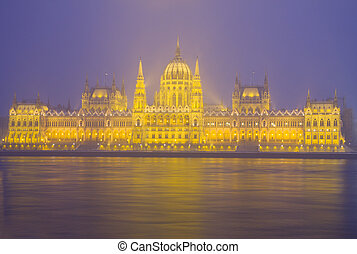 façade, budapest, parlement, nuit