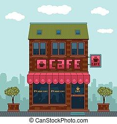 façade, café
