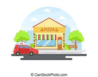 façade, café, ou, pizza, bâtiment, illustration, été, vue, rue, paysage, vecteur, ville, urbain, restaurant