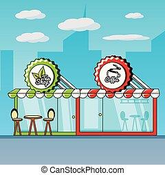 façade, café thé, magasins
