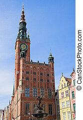 façade, cidade,  Gdansk, corredor