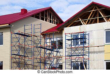 façade, construction, house.