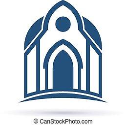 façade, cupula, église, icône