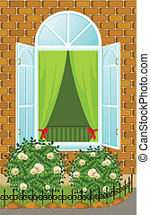 façade, de, maison, à, ouvrir fenêtre