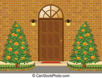 façade, de, maison, à, porte