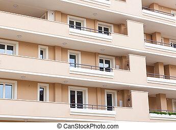 façade, de, résidentiel, bâtiment