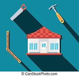 façade, emmagasiner construction, ensemble, outils