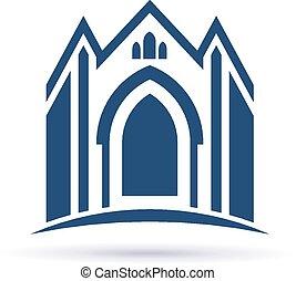 façade, igreja, ícone