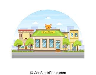 façade, magasin, bâtiment, illustration, été, vue, rue, paysage, vecteur, ville, animaux familiers, urbain