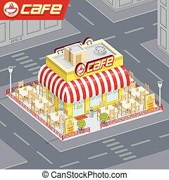 façade, magasin, café