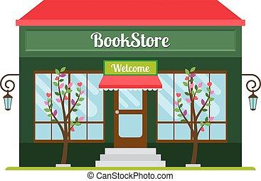 façade, magasin livre, icône