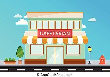 façade, magasin, moderne, extérieur, bâtiments, bâtiment., cafetarian, illustration