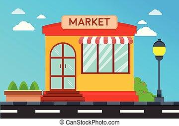 façade, magasin, moderne, extérieur, illustration, bâtiment., bâtiments, marché