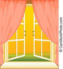 façade, maison, fenêtre