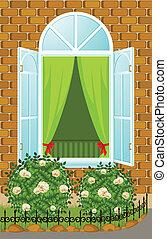 façade, maison, fenêtre, ouvert