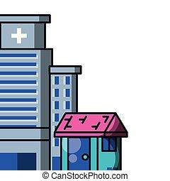 façade, maison, hôpital, structure