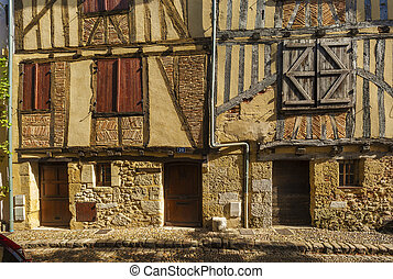 façade, maison, moyen-âge