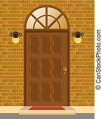façade, maison, porte