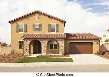 façade, maison, récemment, moderne, constructed