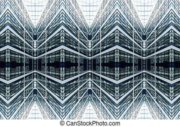 façade, modèle, vitreux, architectural, symétrie