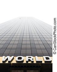 façade, mondiale, mot, gratte-ciel