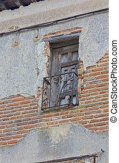 façade, peler, fenêtre, vieux