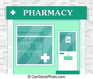 façade, pharmacie, vecteur, bâtiment., illustration.