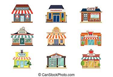 façade, plat, livre, supermarché, magasin, pharmacie, café, devant, magasin, restaurant, vue, icône