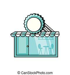 façade, restaurant, isolé, icône