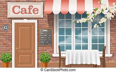 façade, traditionnel, cafe.