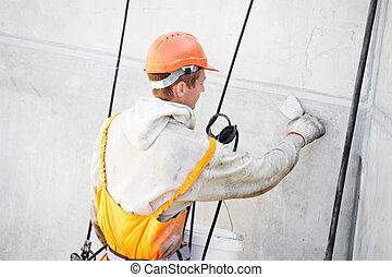 façade, travail, ouvrier, plâtrier