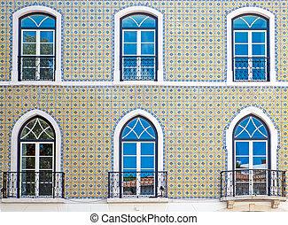 façade, typique, carrelé, lisbonne