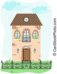 façade, vendange, decora, maison