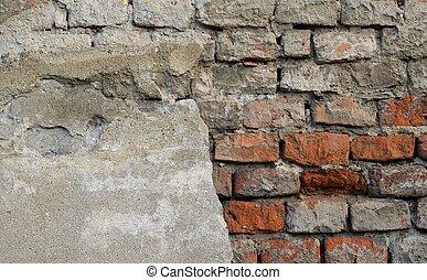 façade, vendange, endommagé, mur brique