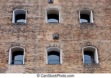 façade, vieux, fenetres, bâtiment