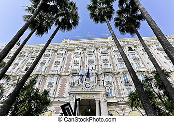 Façade with the Windows and Balconies of the Carlton Hotel -...