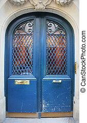 façonné, devant, bleu, paris, blanc, france, porte, façade, porte, vieux, entrée