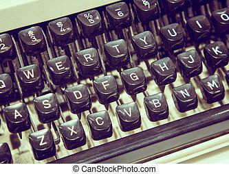 façonné, typewriting, machine., haut, vieux, fin